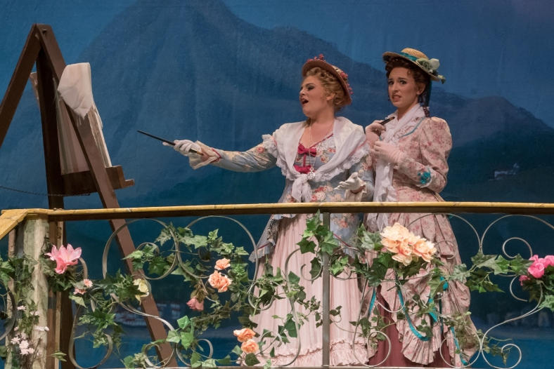 (L to R) Emily Gradowski as Fiordiligi and Jenna Clark as Dorabella in the Lamont Opera Theatre production of Mozart's Cosi fan tutte. - (online)