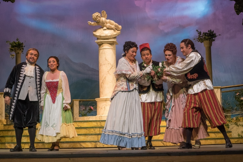 (L to R) Zeky Nadji, Jovahnna Anderson, Guangke Dai, Humberto Borboa, Theresa Kesser and Matthew Peterson in the Lamont Opera Theatre production of Mozart's Cosi fan tutte (online).